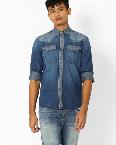 Slim Fit Denim Shirt By Lee ( Indigo )