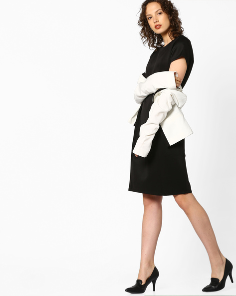 Shift Dress With Concealed Back Zip By Project Eve WW Work ( Black )