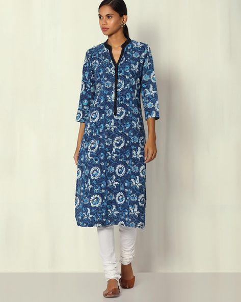 Handblock Print Indigo Dabu Cotton Kurta By Indian Dobby ( Indigo )
