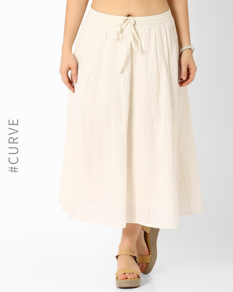 Cotton Maxi Skirt With Drawstring By Oxolloxo ( White )