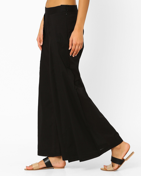 Pleated Palazzo Pants By AJIO ( Black )