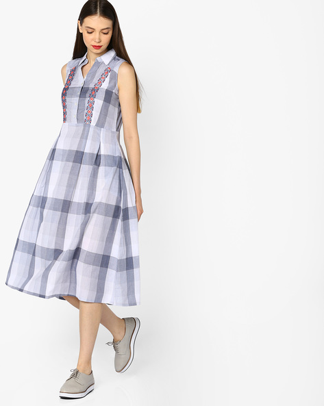 Striped Fit & Flare Dress With Embroidery By And ( Rust )
