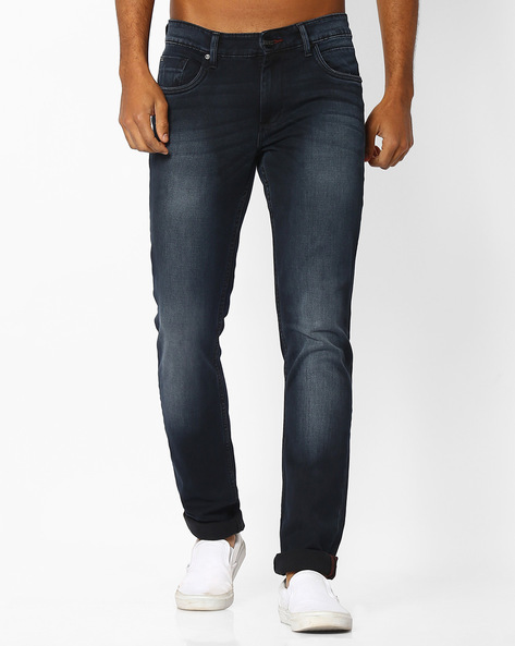 Super Skinny Stretch Jeans By BASICS ( Navy )