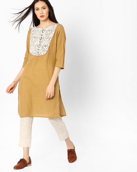 Straight Kurta With Printed Yoke By AJIO ( Beige )
