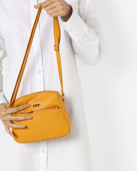 Sara Textured Sling Bag By Lavie ( Yellow )