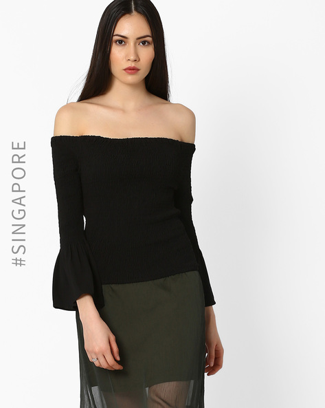 Off-Shoulder Top With Bell Sleeves By MDS ( Black )