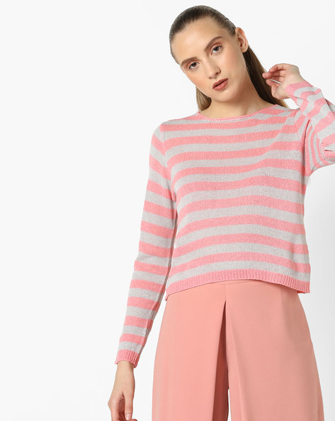 Striped Top With Ribbed Hems By Fame Forever By Lifestyle ( Peach )