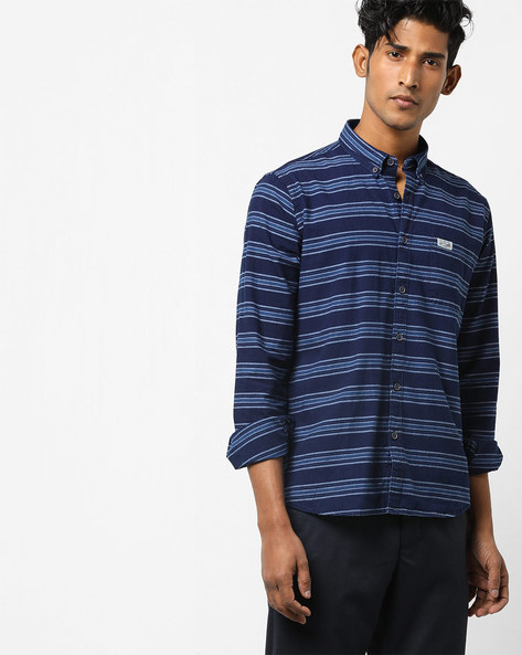 Striped Slim Fit Shirt By US POLO ( Blue )