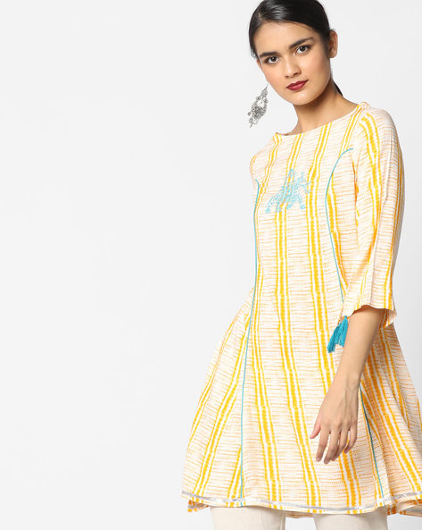 Printed Tunic With Embroidery By AJIO ( Yellow )