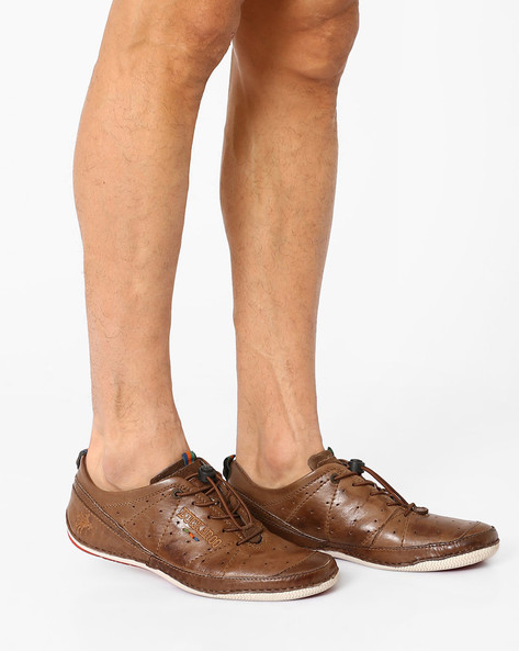 Leather Casual Shoes With Perforation By BUCKAROO ( Brown )