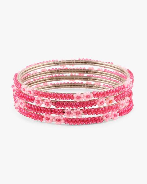 Set Of 4 Floral Beaded Bangles By Indie Picks ( Pink )