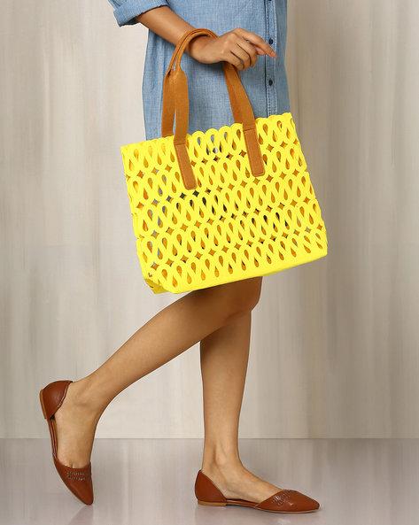 Felt Handbag With Cutwork By Indie Picks ( Yellow )
