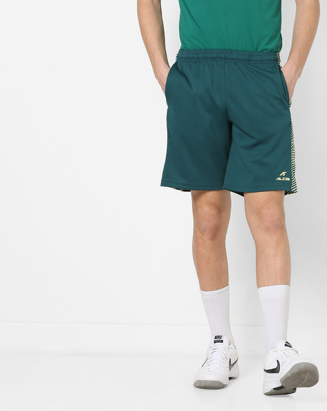 Flat-Front Shorts With Striped Taping By ALCIS ( Darkgreen )