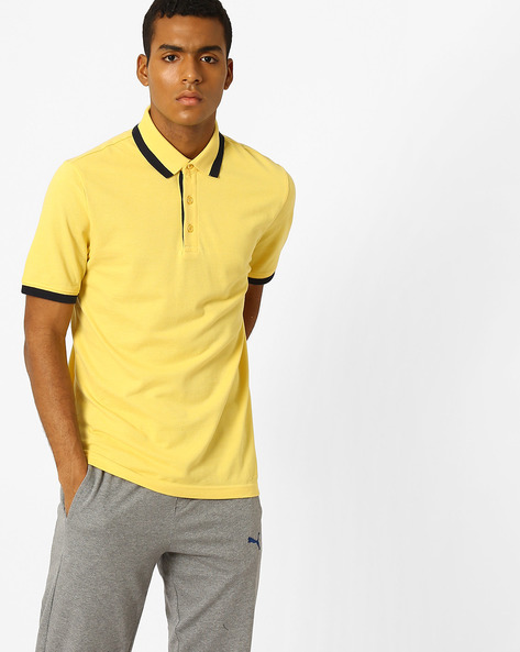 Pique Knit Polo T-shirt With Contrast Tipping By Puma ( Yellow )