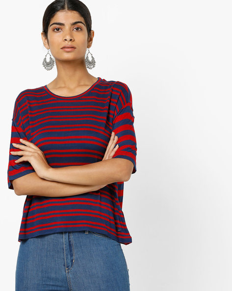 Striped T-shirt With Drop-Shoulder Sleeves By Only ( Blue )