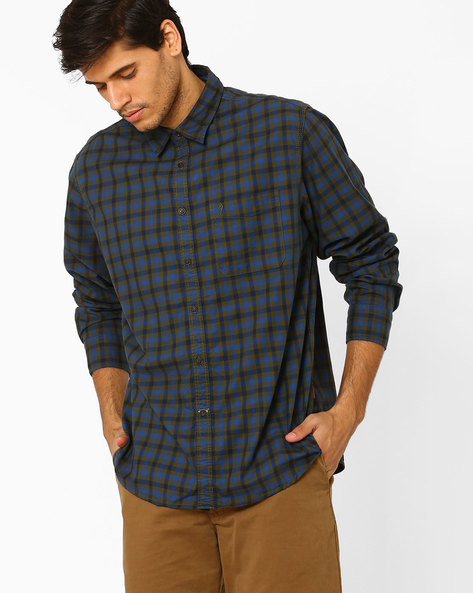 Checked Shirt With Patch Pocket By INDIAN TERRAIN ( Cobalt )