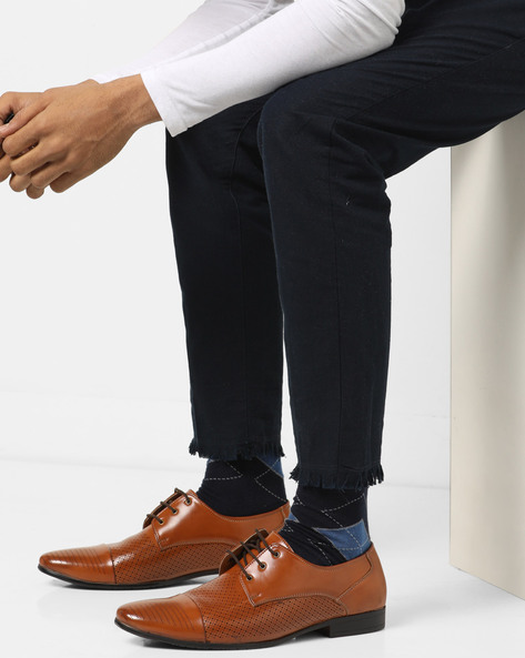 Laser-Cut Formal Derby Shoes By Modello Domani ( Brown )