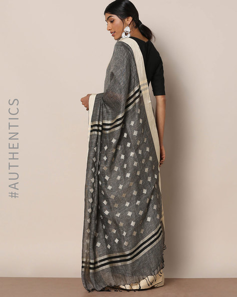 Handloom Pure Linen Saree With Fringes By Indie Picks ( Grey )