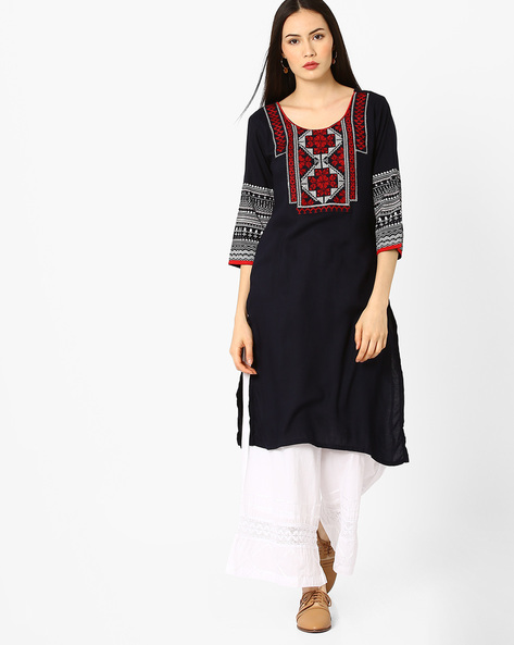 Straight Kurta With Embroidered Detail By AVAASA MIX N' MATCH ( Navy )