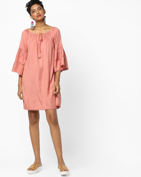 Shift Dress With Tiered Bell Sleeves By AJIO ( Pink )