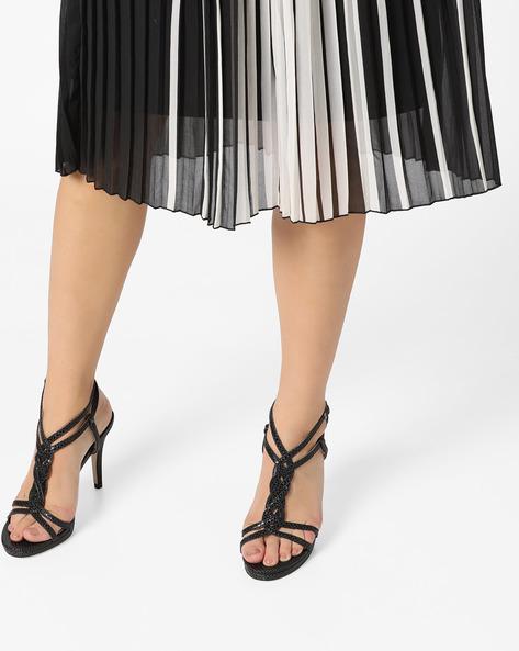 Genuine Leather Textured Stilettos By Carlton London ( Black )