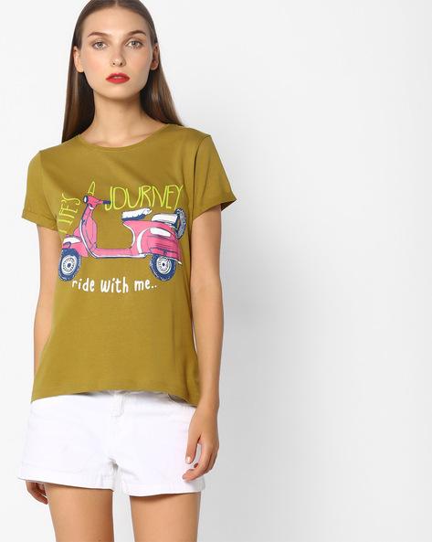 Graphic Print Crew-Neck T-shirt By Blue Saint ( Khaki ) - 460087011001