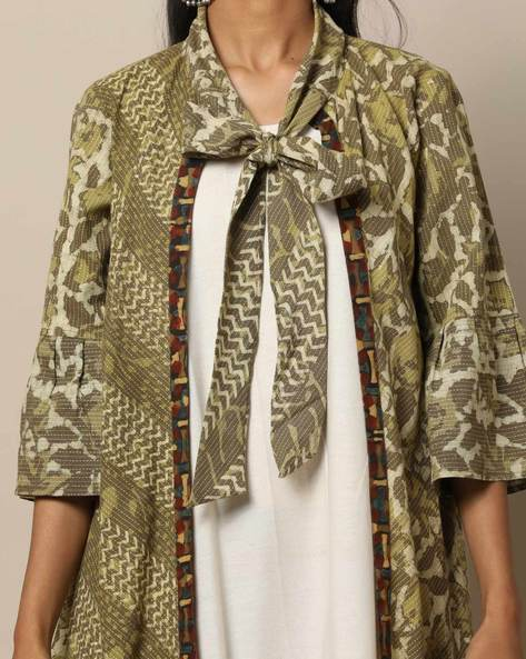 Bagru Handblock Print Cotton Jacket Dress Set By Indie Picks ( Green )