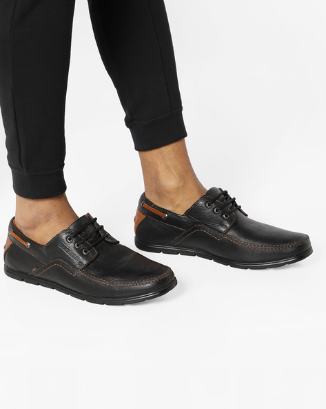 Genuine Leather Casual Shoes By BUCKAROO ( Black )