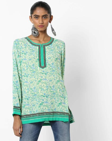 Floral Print Kurti With Notched Round-Neck By Biba ( Green )