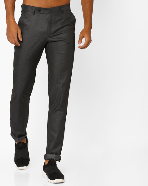 Slim Fit Flat-Front Trousers By British Club ( Greymelange )