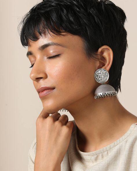 Oxidised Brass Jhumkas By Indie Picks ( Silver ) - 460164028001