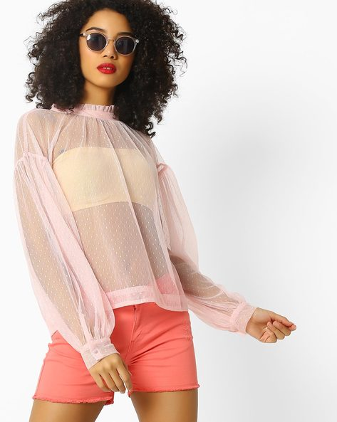 Sheer Top With Drop Sleeves By Rena Love ( Pink )