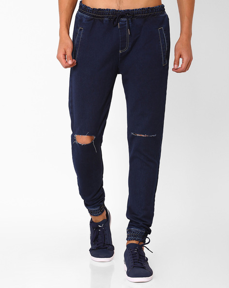 Distressed Slim Joggers With Elaticated Waistband By ADAMO LONDON ( Navyblue )