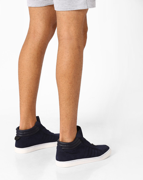 Mid-Top Sneakers With Zip Fastening By AJIO ( Blue )