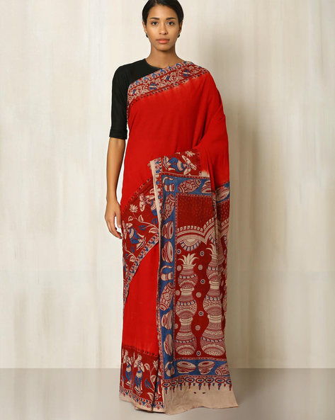 Kalamkari Print Cotton Saree By Indie Picks ( Maroon )