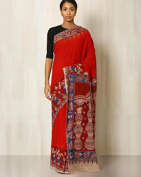 Kalamkari Print Cotton Saree By Indie Picks ( Maroon )
