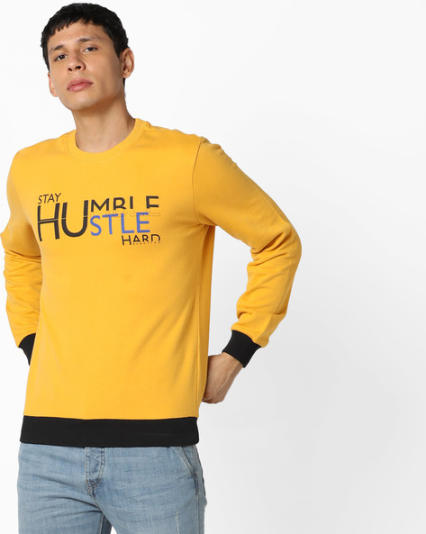 Crew-Neck Sweatshirt With Contrast Hems By UNITED COLORS OF BENETTON ( Gold )