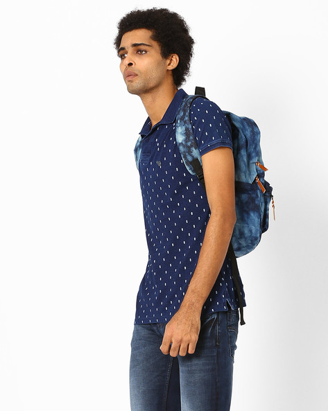 Printed Slim Polo T-shirt By Killer ( Blue )