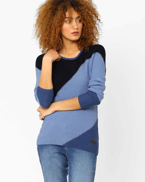 Colourblock Crew-Neck Sweater By WRANGLER ( Blue )
