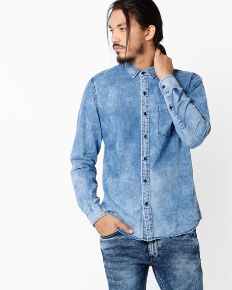 Slim Fit Shirt With Patch Pocket By JOHN PLAYERS ( Blue )