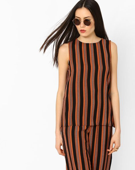 Striped Sleeveless Top By Vero Moda ( Darkbrown )