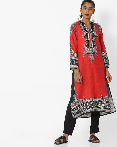 Printed Straight Kurta With Mandarin Collar By Shree ( Red ) - 460144471001