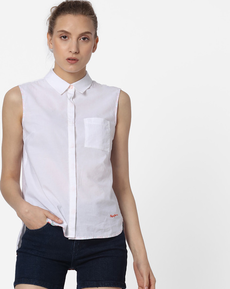 High-Low Shirt With Patch Pocket By Pepe Jeans ( Offwhite )