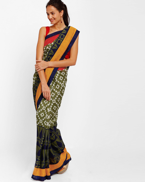Printed Art Silk Saree By Diva Fashion ( Olive )