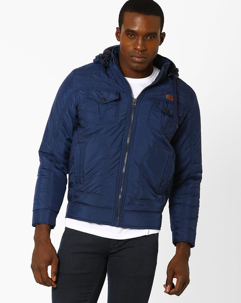 Regular Fit Hoodie With Zip Pockets By Fort Collins ( Navy )