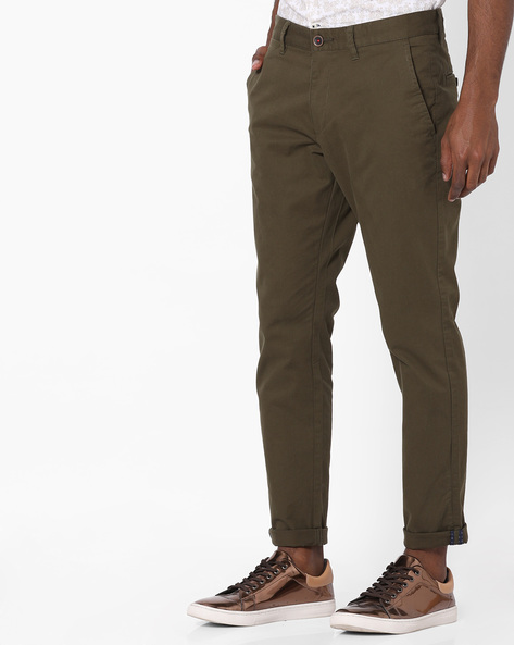 Flat-Front Tapered Chinos By NETPLAY ( Olive ) - 440807581001