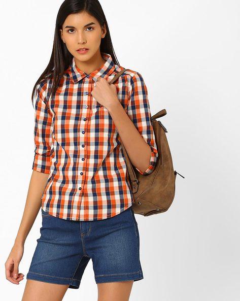 Yarn-Dyed Checked Shirt By WRANGLER ( Orange )