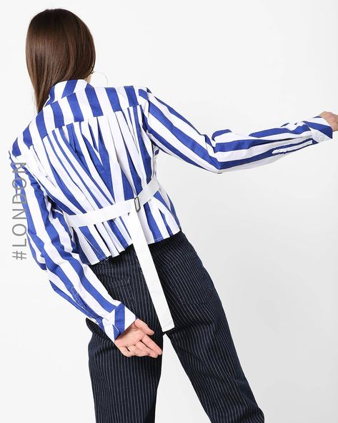 Striped Top With Back Adjustable Tab By Glamorous ( Blue )