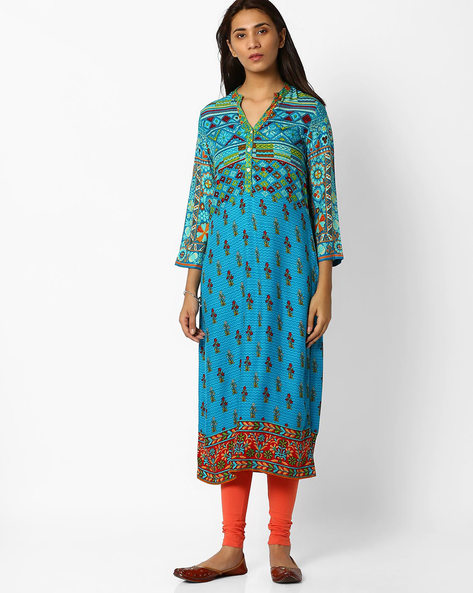 Printed Straight Kurta By Biba ( Turquoise )