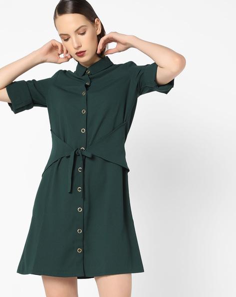 Collared Shift Dress With Tie-Up Belt Panel By AJIO ( Darkgreen )